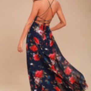 LULUS Blue Floral Print Lace-Up Maxi Dress - S